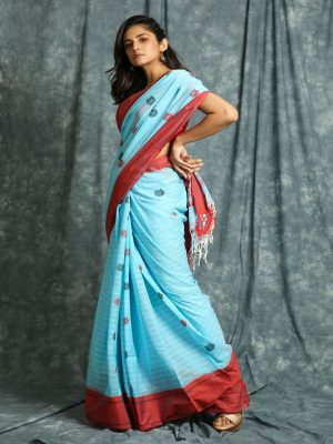 Sky Blue Stripes Handloom Saree