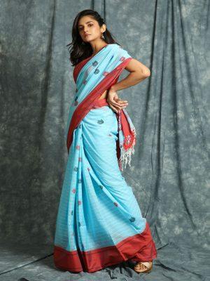 Sky Blue Stripes Handloom Saree