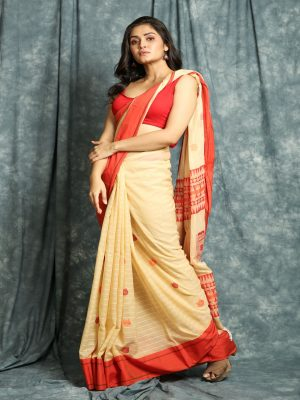 Beige Stripes Handloom Saree