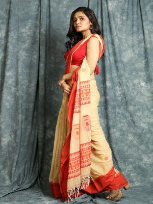 Beige Stripes Handloom Saree