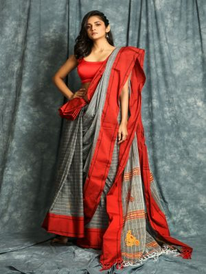 Grey Stripes Handloom Saree