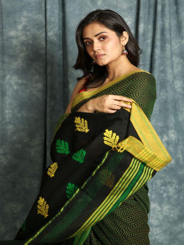 Black Kantha Handloom Saree