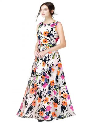 Orange Floral Printed Gown
