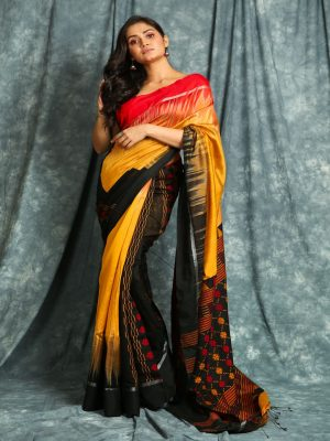 Mustard Yellow Ikkat Handloom Saree