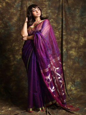Purple Resham Sequine Saree