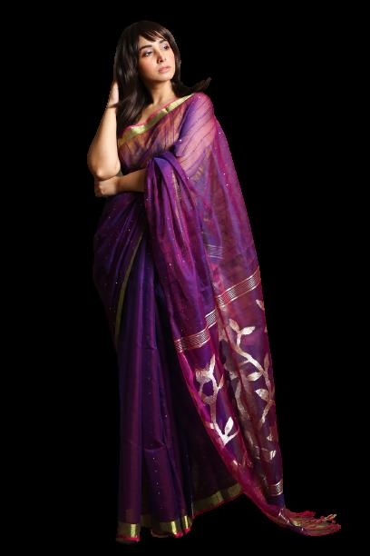 purple resham sequin sari
