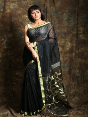 Black Resham Sequin Saree