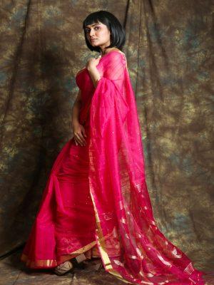 Hot Pink Resham Sequine Saree