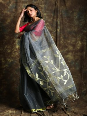 Grey Resham Sequin Saree