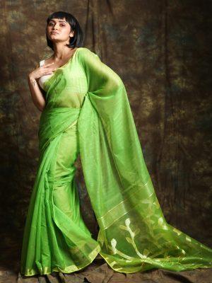 Lime Green Resham Sequin Saree