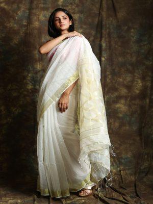 White Resham Sequin Saree