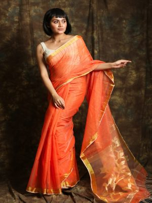 Peach Resham Sequine Saree