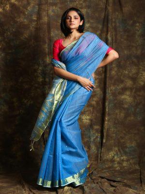 Blue Resham Sequine Saree