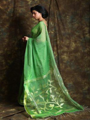Light Green Resham Sequine Saree