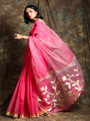 Light Pink Resham Sequin Saree