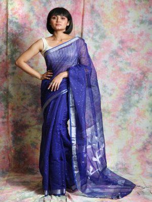 Blue Resham Sequin Saree