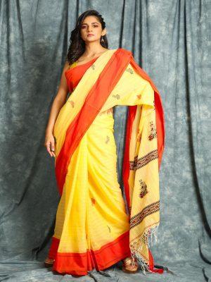 Yellow Handloom Stripes Saree