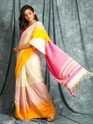 White Check Handloom Saree