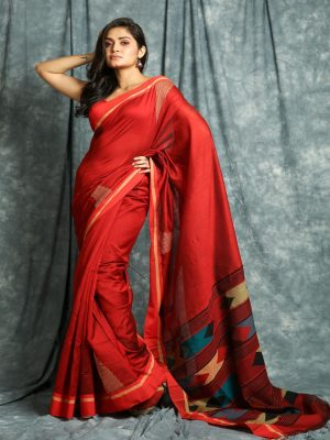 Red Temple Design Saree
