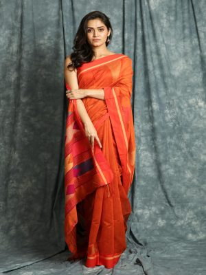 Orange Temple Design Saree
