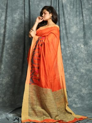 Orange Gicha Weave Saree