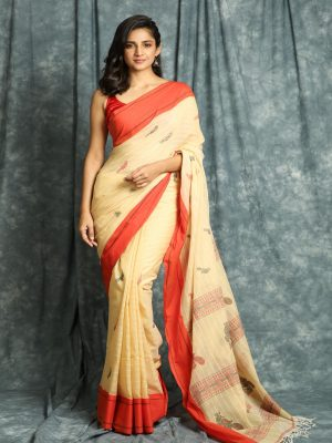 Beige Handloom Stripes Saree