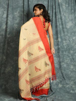Beige Handloom Stripes Saree