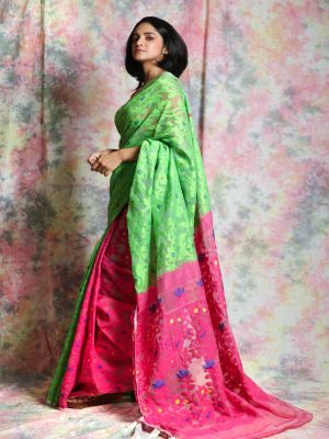Green Patli Jamdani Saree