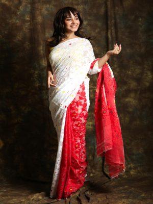 White Patli Jamdani Saree