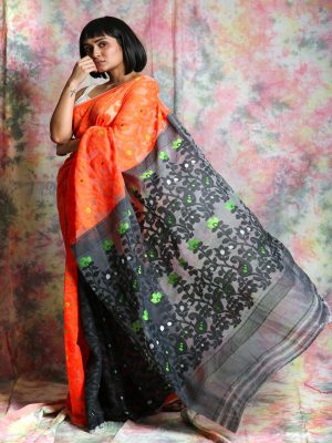 Orange Patli Jamdani Saree