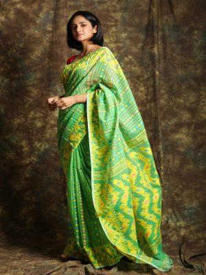 Light Green Jamdani Minakari Saree