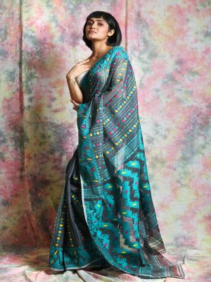 Turquoise Jamdani Minakari Saree