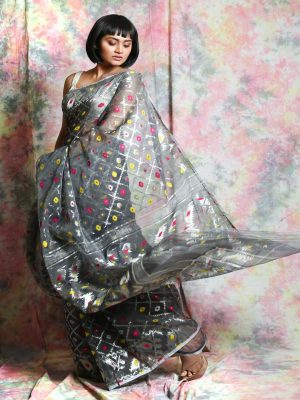 Grey Jamdani Minakari Saree