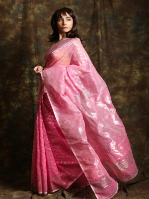 Pink Jamdani Minakari Saree