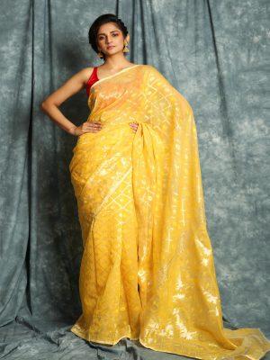 Yellow Jamdani Minakari Saree