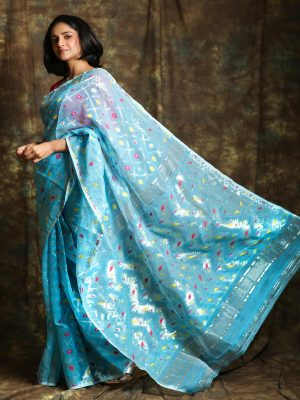 Sky Blue Jamdani Saree