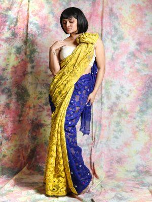 Yellow Patli Jamdani Saree