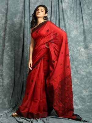 Red Linen Saree