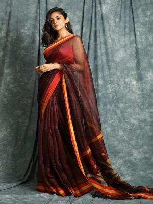 Maroon Linen Saree