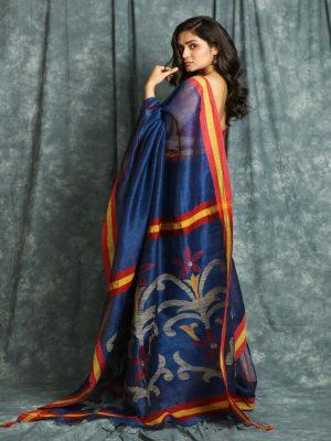 Royal Blue Linen Saree