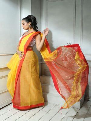 Yellow Sequins Silk Saree
