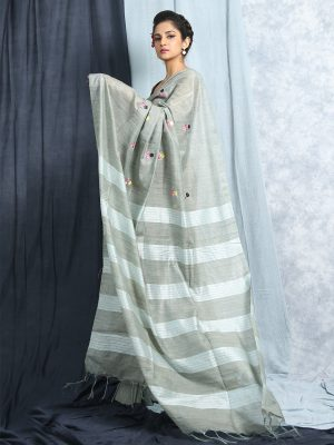 Light Blue Embroidery Silk Saree