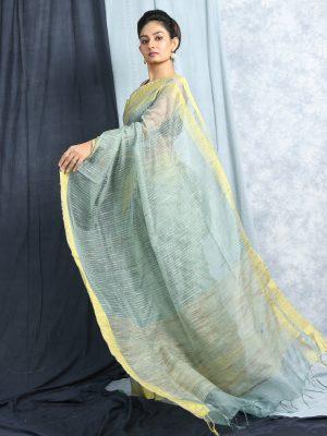 Zade Green Jute Silk Saree