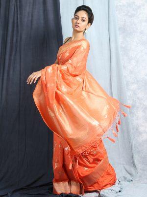 Peach Jacquard Banarasi Saree