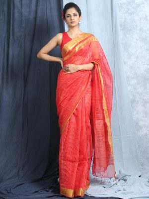 Red Stripes Jute Silk Saree