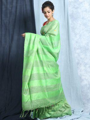 Light Green Embroidery Silk Saree