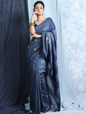 Steel Blue Embroidery Silk Saree