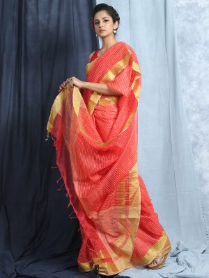 Fiery Red Jute Silk Saree