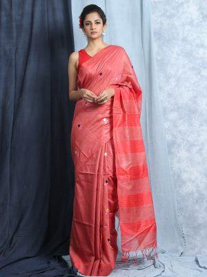 Peach Silk Embroidery Saree