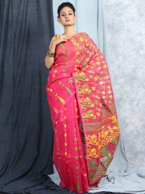 Pink Jamdani Cotton Saree